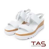 TAS 流蘇寬版繫帶厚底涼鞋-俐落白