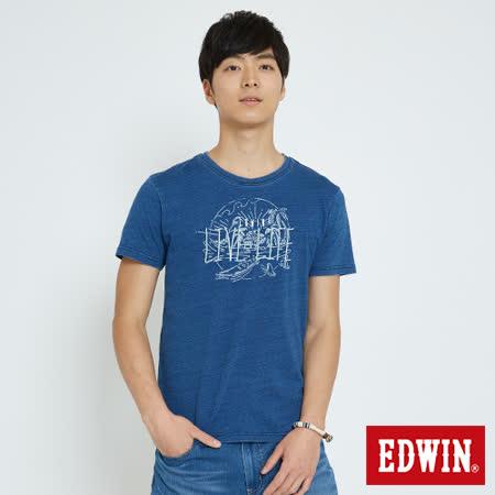 EDWIN INDIGO LIVE LIFE 短袖T恤-男-拔洗藍