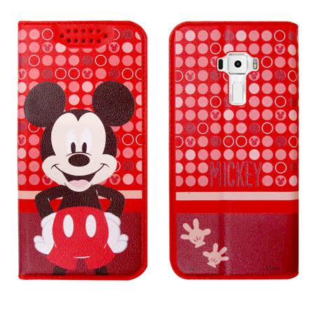迪士尼正版授權 華碩 ASUS ZenFone 3 5.5吋 普普風彩繪手機皮套(米奇) 隱形磁扣 多卡層