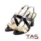 TAS 鏡面交叉金屬色拼接高跟涼鞋-質感黑