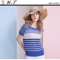 玄太-簡約拼布圓領條紋針織上衣(藍)