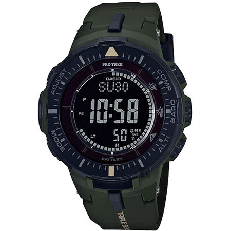 CASIO 卡西歐 PRO TREK 太陽能登山錶-軍綠 PRG-300-3DR