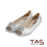 TAS 水鑽環帶造型魚口娃娃鞋-閃爍銀
