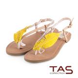 TAS 森林系~葉子造型水鑽夾腳涼鞋-亮眼卡其
