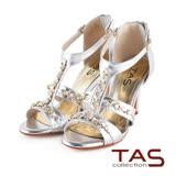 TAS 層次感T字繫帶混搭金屬鍊高跟羅馬涼鞋-時尚銀