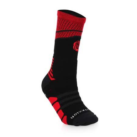(男) ADIDAS ROSE系列 襪-DERRICK ROSE 一雙入 長襪 襪子 黑紅白