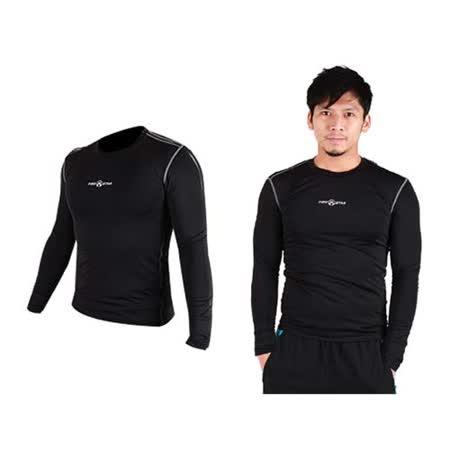 (男) FIRESTAR 緊身衣 長袖T恤-慢跑 路跑 運動T恤 黑