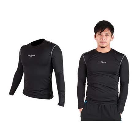 (男) FIRESTAR 緊身衣 長袖T恤-慢跑 路跑 運動T恤 黑灰