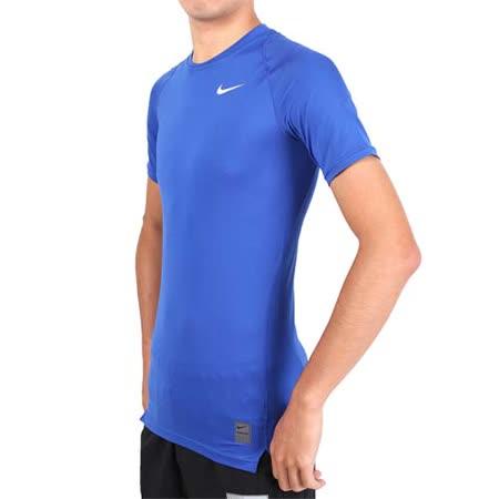 (男) NIKE PRO 短袖T恤-路跑 慢跑 健身 重訓 短袖緊身衣 藍白
