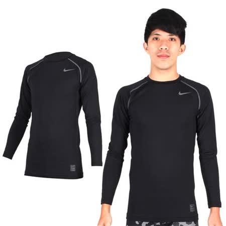 (男) NIKE PRO COMBO長袖緊身衣-保暖 健身 緊身T恤 黑灰 XL