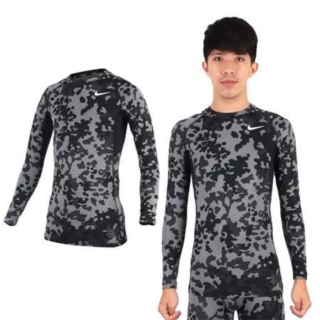 (男) NIKE PRO COMBAT 長袖針織衫-長袖緊身衣 慢跑 路跑 籃球 迷彩黑灰