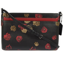 COACH 馬車LOGO防刮花卉圖案附活動袋雙層斜背包.黑 F56463
