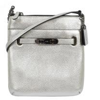 COACH 馬車LOGO皮革雙扣小巧鍊條斜背包.銀 F36501