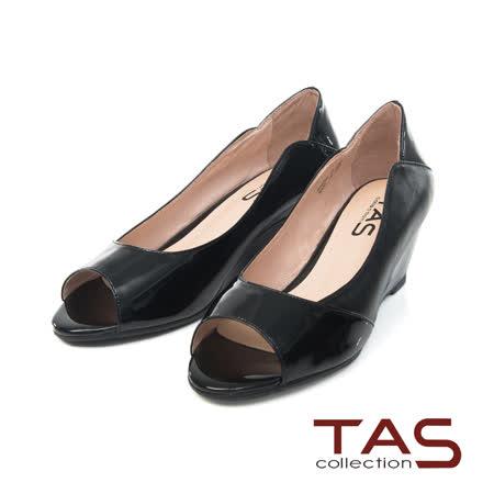 TAS 優雅鏡面羊皮魚口楔型鞋-奢華黑
