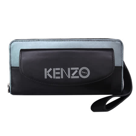 KENZO 前口袋雙色ㄇ字拉鍊長夾(黑X銀藍 / 附手掛帶)