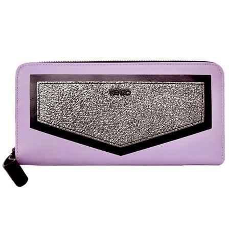 KENZO 金屬LOGO拼接皮革ㄇ字拉鍊長夾(粉紫)