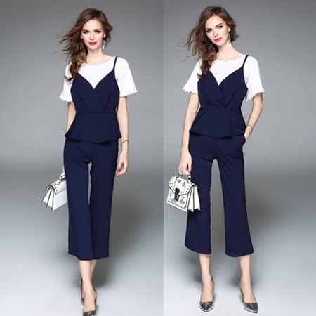 【Kate Classic 】風情時尚吊帶背心搭九分長褲二件式套裝ST13