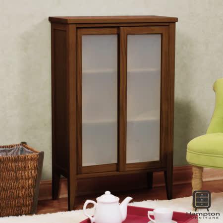 漢妮Hampton凱恩松木小雙門玻璃櫃.鞋櫃.置物櫃.收納櫃.櫃子.玄關櫃-深褐色