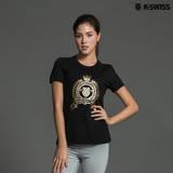 K-Swiss Shield Puff Print T印花短袖T恤-女-黑