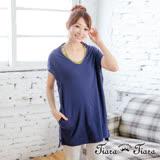 【Tiara Tiara】激安 寬版大圓領罩衫短洋裝(藍)