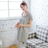 【Tiara Tiara】激安 寬版大圓領罩衫短洋裝(灰)