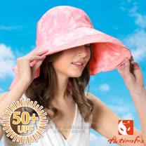 【挪威 ACTIONFOX】女新款 抗UV透氣印花遮陽帽UPF50+.中盤帽.漁夫帽/SUPPLEX吸汗快乾.POLYGIENE抗菌除臭.加長後遮陽片/631-4771 夾花粉紅