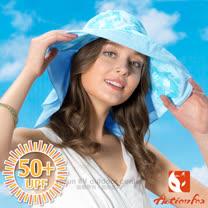 【挪威 ACTIONFOX】女新款 抗UV透氣印花遮陽帽UPF50+.中盤帽.漁夫帽/SUPPLEX吸汗快乾.POLYGIENE抗菌除臭.加長後遮陽片/631-4771 夾花淺藍