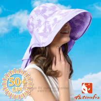 【挪威 ACTIONFOX】女新款 抗UV透氣印花遮陽帽UPF50+.中盤帽.漁夫帽/SUPPLEX吸汗快乾.POLYGIENE抗菌除臭.加長後遮陽片/631-4771 夾花紫