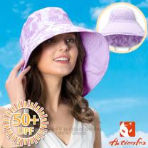 【挪威 ACTIONFOX】女新款 抗UV透氣雙面遮陽帽UPF50+.中盤帽.漁夫帽/可雙面戴.SUPPLEX吸汗快乾.加長後遮陽片/631-4768 淺紫