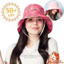 【挪威 ACTIONFOX】女新款 可翻折雙面透氣遮陽帽UPF50+.中盤帽.漁夫帽/可雙面戴.SUPPLEX吸汗快乾.POLYGIENE抗菌除臭/631-4833 粉紅