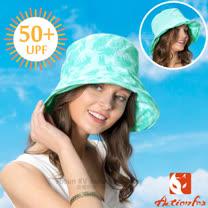 【挪威 ACTIONFOX】女新款 可翻折雙面透氣遮陽帽UPF50+.中盤帽.漁夫帽/可雙面戴.SUPPLEX吸汗快乾.POLYGIENE抗菌除臭/631-4833 淺水藍