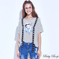 【Betty Boop貝蒂】前短後長彈性條紋造型上衣(共二色)