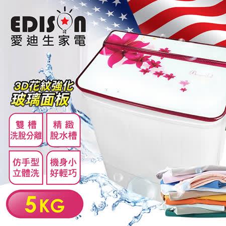 【EDISON 愛迪生】5.0KG超大容量雙槽迷你洗衣機-兩色任選(E0711)