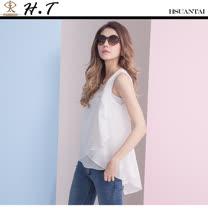 玄太- 優雅多層次無袖純色雪紡上衣(白)