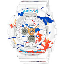 BABY-G 街頭塗鴉藝術運動錶 BA-120SPL-7A 白