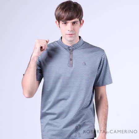 ROBERTA諾貝達 台灣製 雙色條紋 純棉短袖POLO棉衫 灰藍
