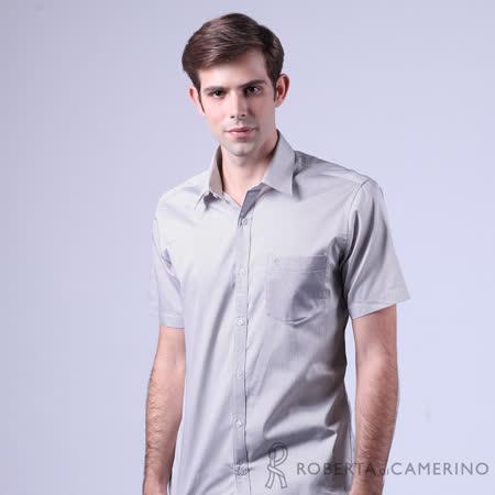 ROBERTA諾貝達 進口素材 台灣製 合身版 純棉細條紋短袖襯衫 紫色