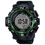 【CASIO 卡西歐】登山電波太陽能腕錶-綠框黑/PRW-3510FC-1DR