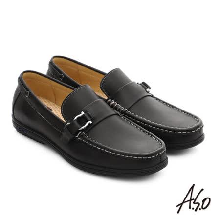 A.S.O 輕量抗震 都會牛皮直套式休閒皮鞋 (黑)