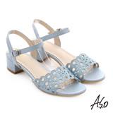 A.S.O 星光注目 全真皮璀璨水鑽奢華涼拖鞋(淺藍)