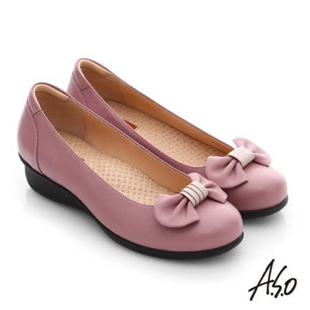 A.S.O 舒活寬楦 真皮蝴蝶結飾楔型鞋(粉紅)