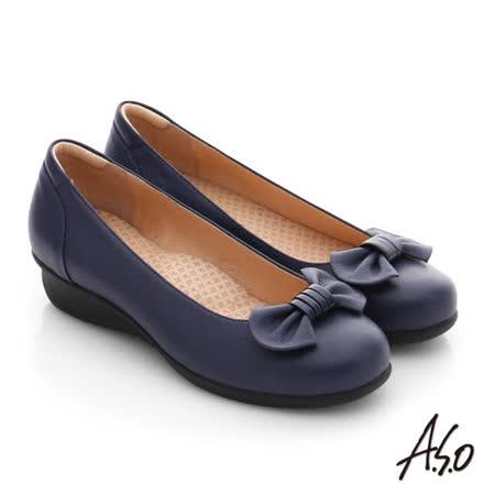 A.S.O 舒活寬楦 真皮蝴蝶結飾楔型鞋(藍)