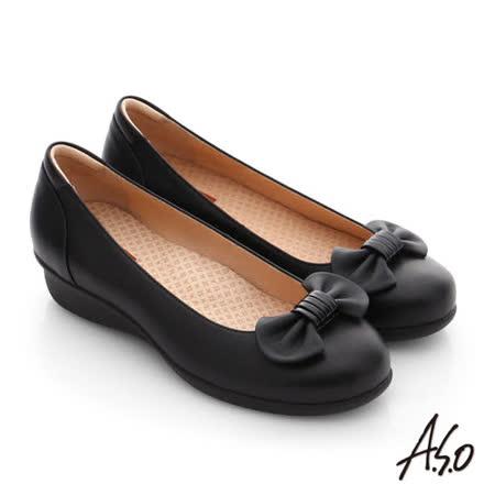 A.S.O 舒活寬楦 真皮蝴蝶結飾楔型鞋(黑)
