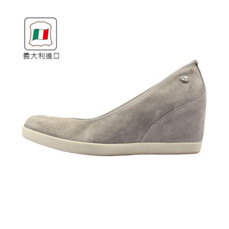 【Kimo 德國手工氣墊鞋】義大利製造簡約反毛素面舒適休閒楔型鞋(氣質灰719517157018)