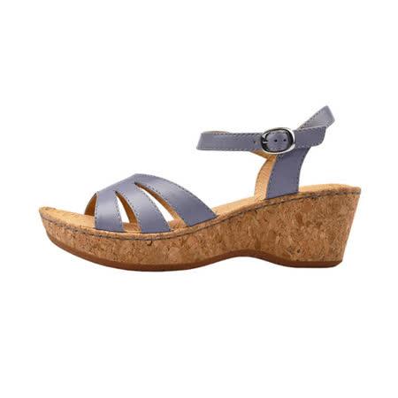 【Kimo 德國手工氣墊鞋】氣質柔軟羊皮金屬飾扣舒適楔型涼鞋(紫羅蘭K17SF040199)