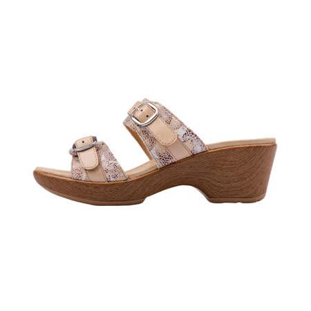 【Kimo 德國手工氣墊鞋】氣質婉約花紋舒適粗跟拖鞋(氣質杏K17SF096020)