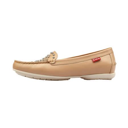 【Kimo 德國手工氣墊鞋】氣質舒適金屬鉚釘裝飾平底休閒鞋(氣質杏K17SF117040)