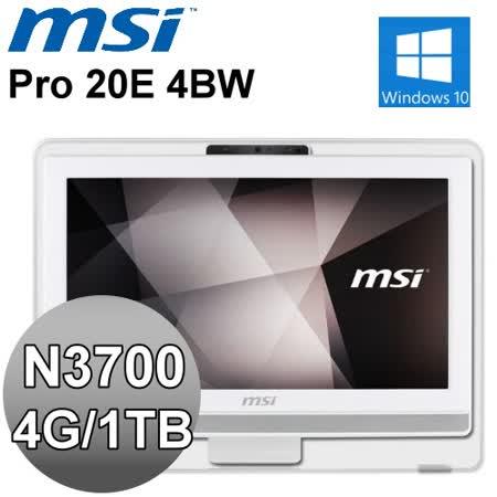 MSI Pro 20E 4BW-052TW【天使白兔】20型All-in-One 液晶電腦 (N3700/4G/1TB/W10)