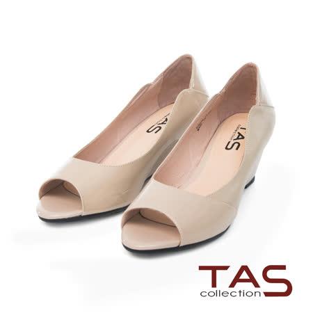 TAS 優雅鏡面羊皮魚口楔型鞋-俐落米
