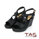 TAS 交叉鏤空繫帶楔型涼鞋-百搭黑